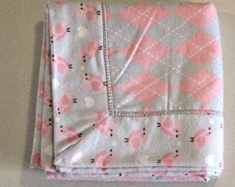 Baby Girl Personalized Flannel Blanket, Pink and Gray Receiving Blanket, Birdie Baby Flannel Blanket, Baby Girls Nursery, Name on Blanket