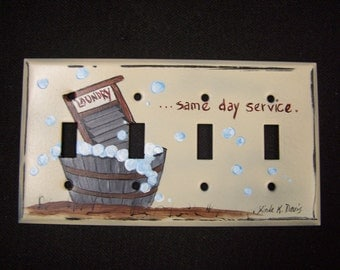 Hand painted metal quadruple  light switch cover with a laundry room theme