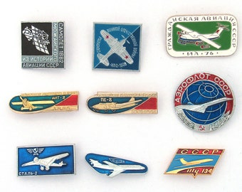 Aviation, Plane, Aircraft, Set, Transport, Vintage metal collectible badge, Soviet Vintage Pin, Made in USSR
