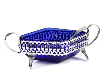 Small Condiment Dish, 3-Footed Chrome Stand, Cobalt Blue Glass