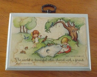 Vintage 1978 Joan Walsh Anglund Wall Plaque The World Is Beautiful When Shared With A Friend
