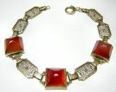 Vintage ART DECO 14k SUGARLOAF Carnelian & Filigree Bracelet