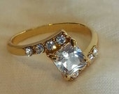Classic Vintage Style 10K Gold White Sapphire Ring 7.5