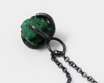 Handmade Silver Malachite Necklace, 925 Silver Malachite Rock Necklace, Unique Gift, Wholesale Available