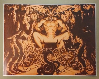 """Satan On Throne Poster Full Size 31"""" x 24"""" Evil Art Devil hell"""