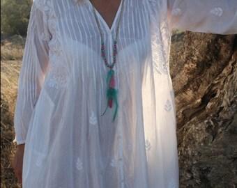 White cotton tunic from Ibiza