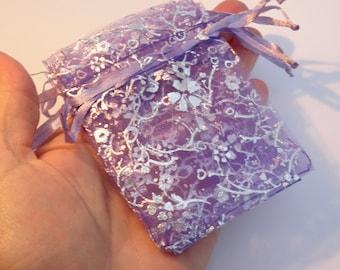 10 Organza Gift Bags Purple 9 x 7cm  - CB011