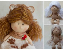 Hair 2 PDF PATTERN how to make doll hair from straight mohair yarn or boucle and from Brushable Mohair, tutorial, pdf pattern, doll pattern