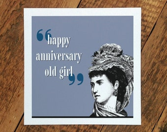 Anniversary Card For Wife; 'Happy Anniversary Old Girl'; Anniversary Card For Girlfriend; GC246