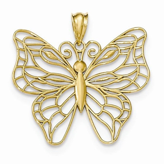 14k yellow gold or 14k white gold butterfly pendant charm