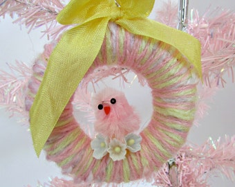 Miniature Yarn Wreath Easter Chick Ornament