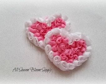 """White/ Pink Chiffon Roses Hearts - Chiffon Hearts - Shabby Roses Hearts - Valentine's Day - DIY- Headband - Hair Accessory - 3x2"""""""