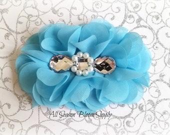 "Blue Flowers - Beaded Chrystal Chiffon Flower - Fabric Flower - Pearl Chrystal Flowers - Rosettes - Headband - Supplies - DIY- 5"""