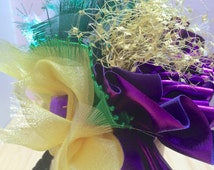 Mardi Grad Headpiece, Carnival headpiece, Fat Tuesday hat-New Orleans Party Headpiece-Hat with Purple, Green and Yellow- Carnival!