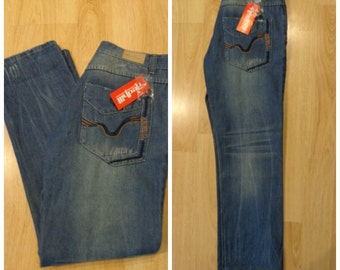 Vintage 90s. New Jeans,High Waist , Blue,Size S