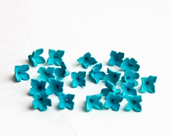 20 flower Beads, Polymer Clay Beads,  turquoise flowers 9-10mm