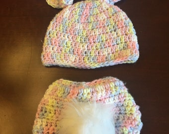 Crocheted Baby Bunny Beanie and Diaper Cover set