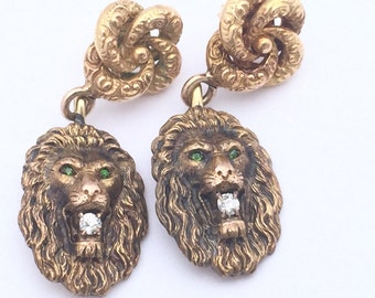 Antique Diamond Earrings   Gold   Victorian   Love Knots   Leo   Gifts For Her