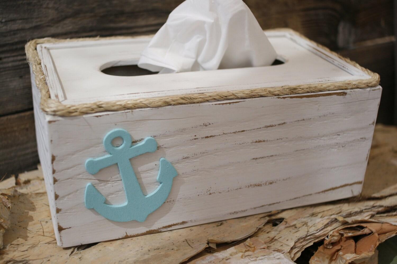 Tissue kleenex box cover holder nautical beach ocean anchor - Beach themed tissue box cover ...