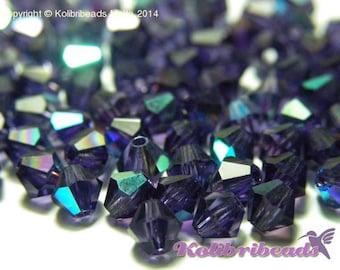 Czech Crystal Bicone Beads 4 mm - Purple Velvet AB
