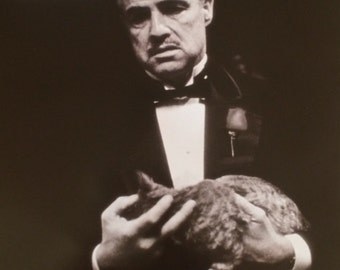 The Godfather Marlon Brando with cat poster 16 x 20