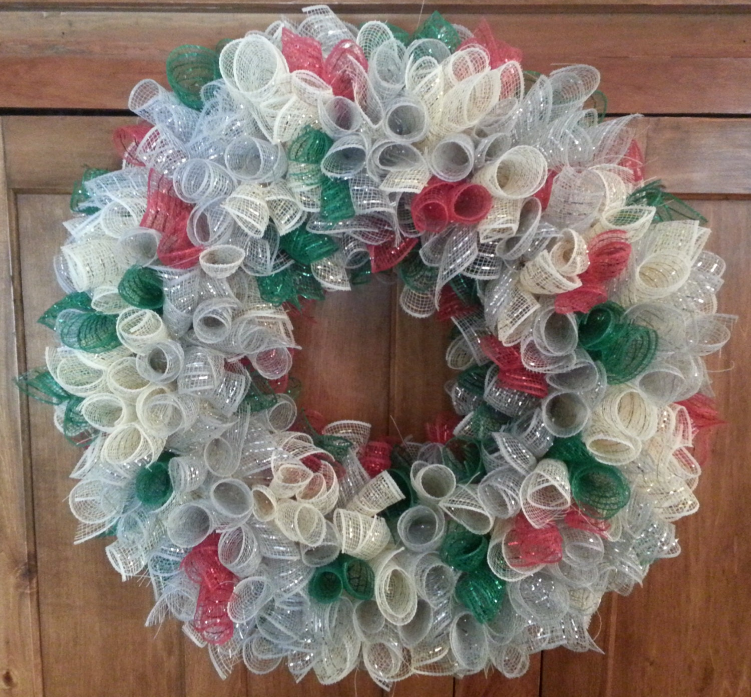 Deco Mesh Christmas Wreath Silver, Gold, Green and Red