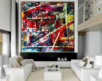 "Acrylic LARGE, ORIGINAL 56""Abstract Painting, Original Acrylic Painting on Canvas Contemporary Painting Wall Art"