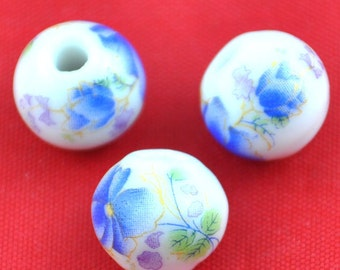 Ceramic Beads -10pcs Chinese Hand Painted blue Ball Bead Earring Findings  12mm---G1522