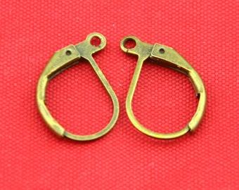 Leverback Earwire -30pcs Antique Bronze Brass Earring Hooks Findings 10x16mm---E0039