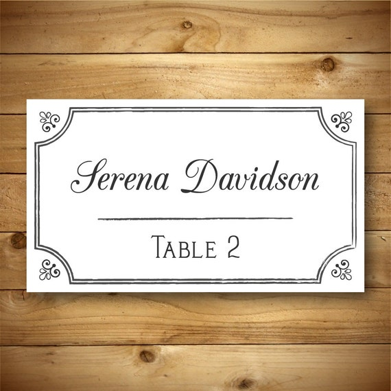 printable place card template placecard template diy