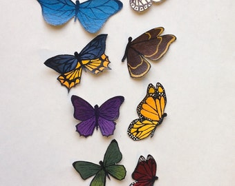 Set of nine muslin miniature butterflies - hand painted, made to order