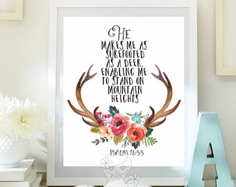 Bible Verse art Printable, as a Deer, scripture prints, Psalm 18 33, scripture decor, wall bible verse, nursery kid, printable Wall art  114