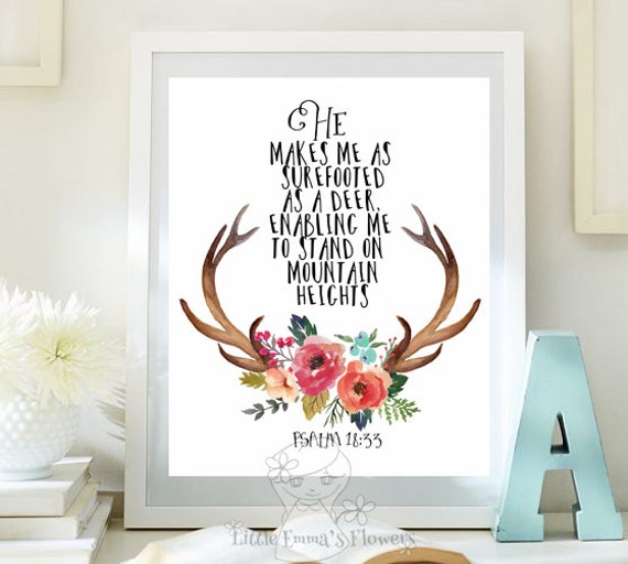 Meaning Of Wall Decor : Bible verse art printable as a deer scripture prints psalm