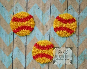 3 pc Shabby Softball- Going Out Of Business- Rosettes Softball's- 3 inches- Chiffon Unfrayed-yellow and red