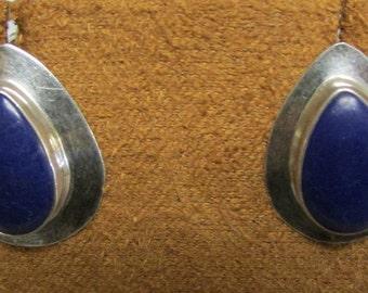 Sterling Silver and Block Lapis Tear Drop Post Earrings