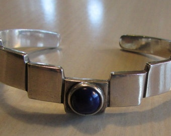 Sterling Silver and Lapis Cuff Bracelet from Mexico