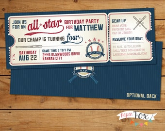 Vintage Baseball Birthday Invitation // Baseball Party Invitation // First Birthday // Little Slugger Grand Slam Invitation // PRINTABLE