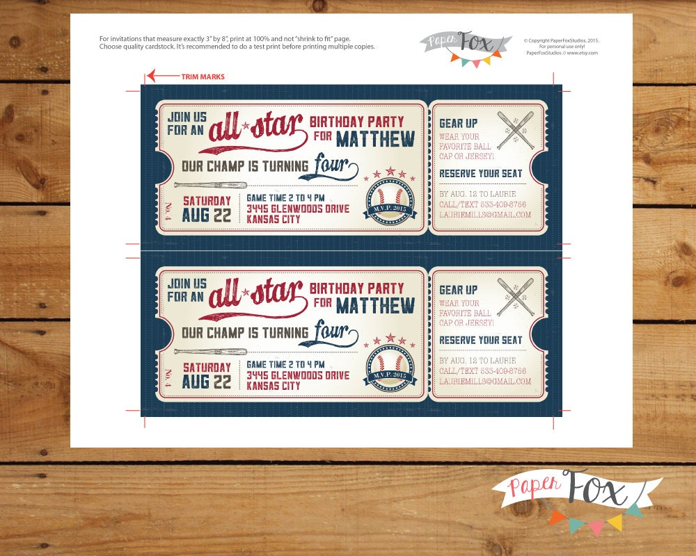 Vintage Baseball Ticket Birthday Invitations Invitation