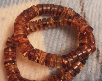 Amber Baltic Rondelle Necklace , Amber Necklace, Button Beads, 6mm To 11mm