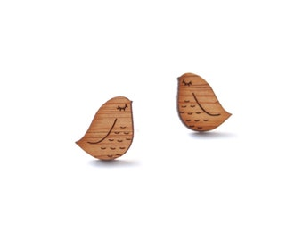 Cute Bird Stud Earrings - Bird Wooden Earring Studs - Minimalist Stud Earrings - Birds Post Earrings - Bird Jewelry