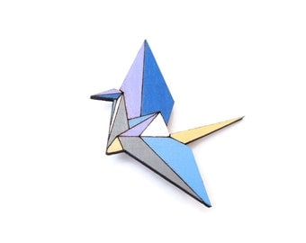 Geometric Brooch - Origami Crane Wooden Brooch Pin- Handpainted Geometric Wood Brooch - Origami Jewelry