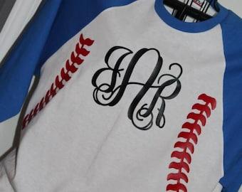 Baseball raglan tee shirt with monogram