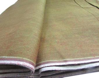 Khadi Fabric, Two Toned Fabric, Henna Green, Dull Pink, Bolt End, 33 inches, Regular Cotton, Handspun, Handwoven Fabric, Handloom Cotton,
