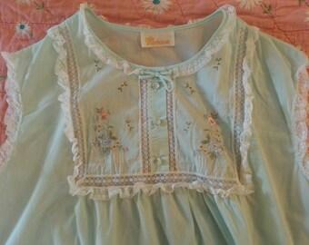 Vintage Barbizon Cotton Gown Embroidered  Lingerie