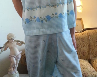 Vintage Bo Peep Blue Pajamas PJs Floral Gingham Plaid Print Slumber Party Sleep Ease Cotton Lingerie XL