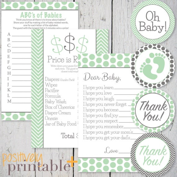 mint green and gray baby shower games printable pack printable games