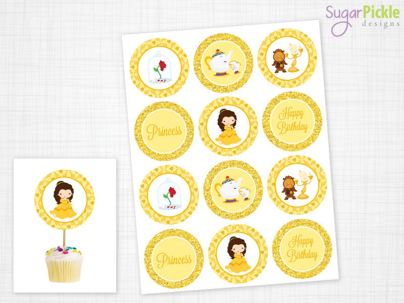 Belle Cupcake Toppers Belle Toppers Belle Birthday Belle