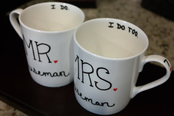 Customized Wedding Coffee Mugs : Personalized Coffee Mugs, Wedding Gift, Bride and Groom Gift, Wedding ...