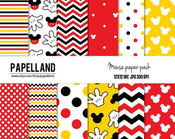 Mouse digital paper pack for scrapbooking,Making Cards, Tags and Invitations / Instant Download