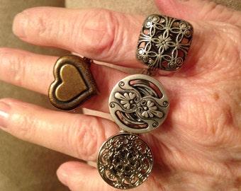 Handmade Button Rings